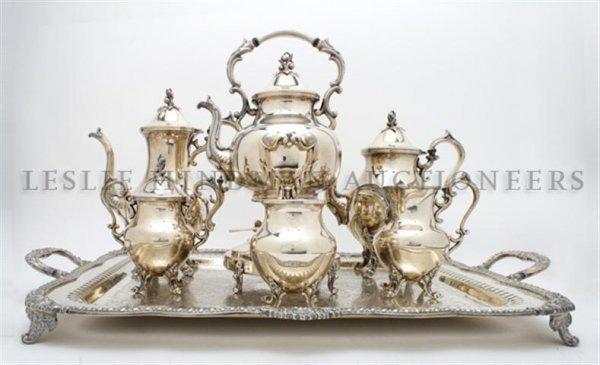 An English Silverplate Tea Service, Width of tray over
