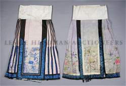 A Group of Two Chinese Silk Skirts, Length of longest 3