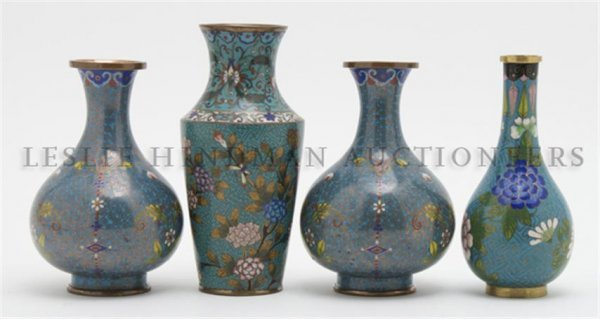 A Collection of Four Chinese Cloisonne Vases, Height of