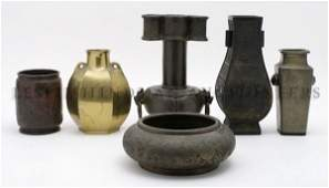A Collection of Six Asian Bronze and Cast Metal Vases