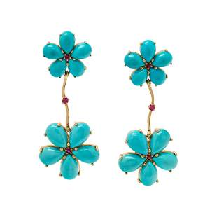 PAUL MORELLI, TURQUOISE AND RUBY FLOWER MOTIF EARRINGS