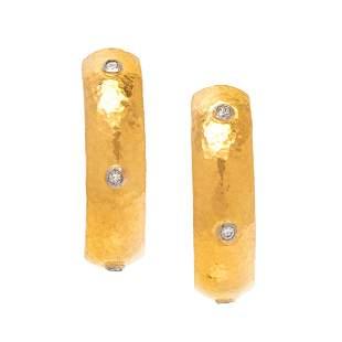 GURHAN, HIGH KARAT GOLD AND DIAMOND EARRINGS