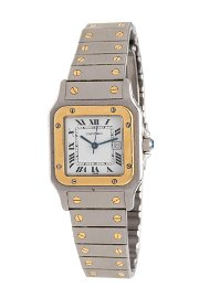 CARTIER, STAINLESS STEEL AND 18K YELLOW GOLD 'SANTOS'