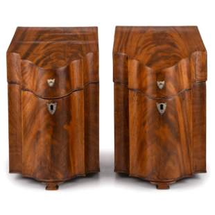 A Pair of George III Figured Mahogany Knife Boxes
