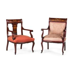 An Edwardian Style Mahogany and Marquetry Five-Piece