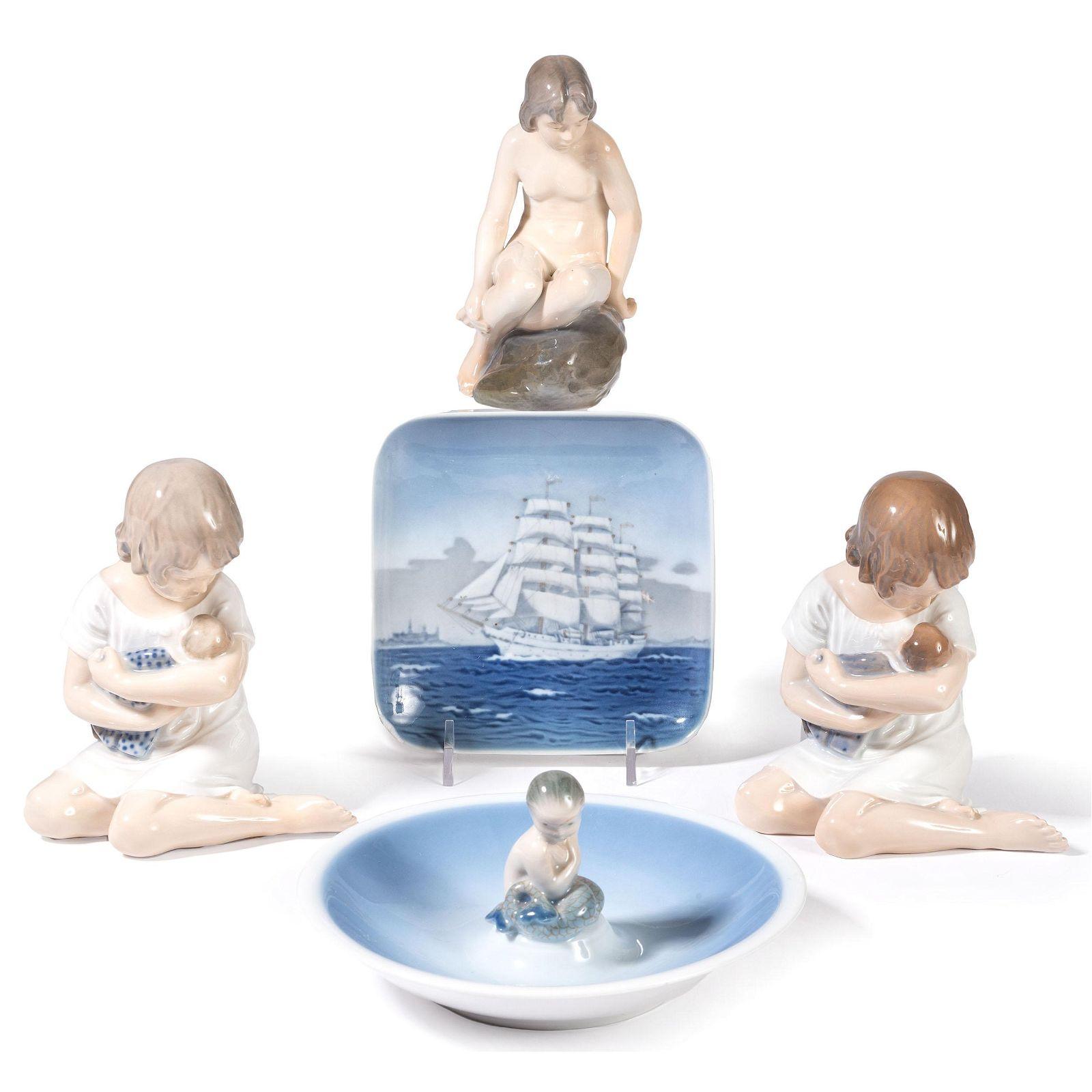 Five Royal Copenhagen Porcelain Figures and Dishes