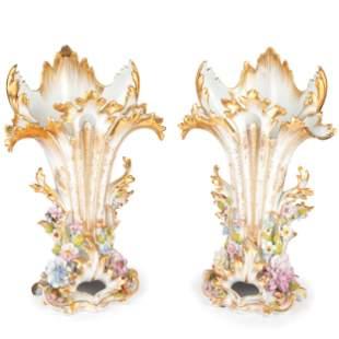 A Pair of Paris Porcelain Gilt and Encrusted