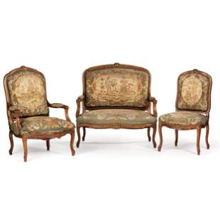 A Suite of Louis XV-Style Carved Walnut Needlework