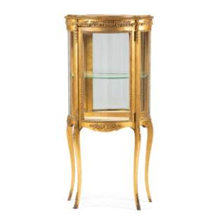 A Louis XV Style Giltwood Vitrine Cabinet