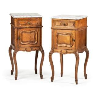 A Pair of Louis XV Provincial Style Carved Oak Marble