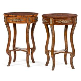 A Pair of Louis XV Style Marquetry Tables