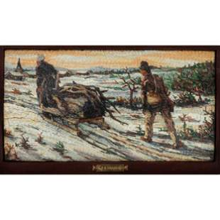 Micromosaic Plaque Depicting Figures Gathering Wood in