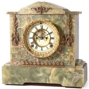 An Ansonia Onyx Mantel Clock