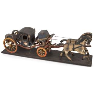 A Painted Wood Model of a Horse-Drawn Coach