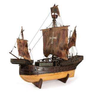 A Painted Wood and Canvas Model of a Three-Masted Ship