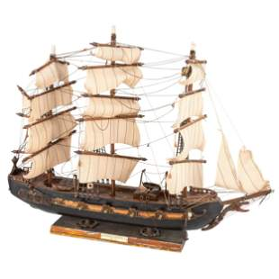 A Painted Wood Model of the Frigate Espanola