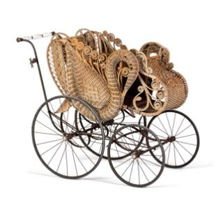 A Victorian Basket Weave Swan-Decorated Trolley