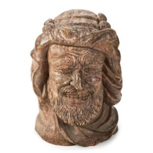 A Large Carved Wood Bust of a Sailor or Dock Worker