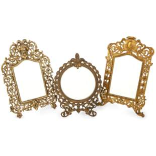 Five Victorian Cast Metal Mirrors
