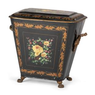 A Victorian Tole Painted Coal Scuttle