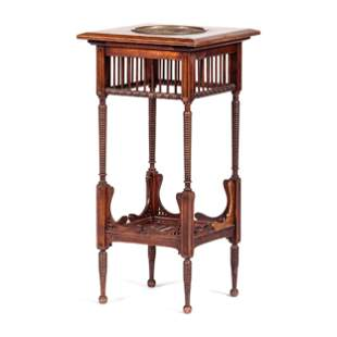 A Victorian Fern Stand in Walnut with Inset Cast Metal