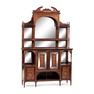 An Aesthetic Movement Mirrored and Inlaid Walnut