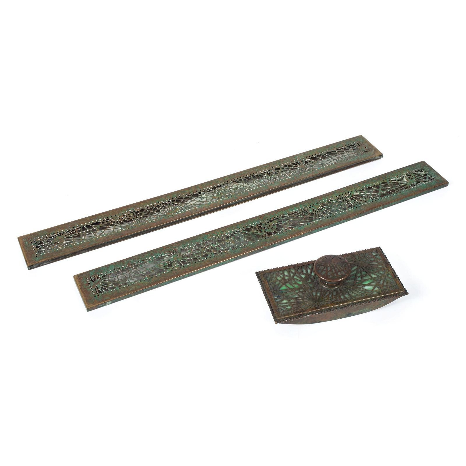 A Pair of Tiffany Studios Pine Needle Blotter Ends and