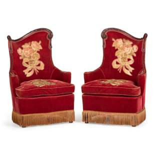 A Pair of Carved Walnut Armchairs with Embroidered