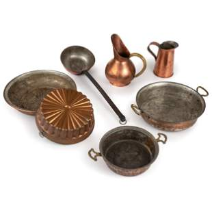 Seven Pieces of Copper Cookware