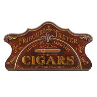 A Fribourg & Treyer Cigars Carved and Painted Walnut