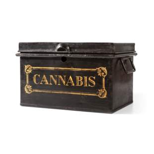 A Painted Metal Ship's Drug Safe for Cannabis