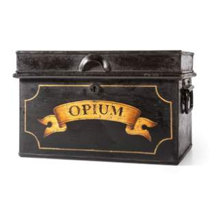 A Painted Metal Ship's Drug Safe for Opium