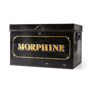 A Painted Metal Ship's Drug Safe for Morphine