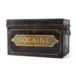 A Painted Metal Ship's Drug Safe for Cocaine