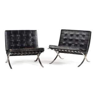 A Pair of Knoll Barcelona Chairs Height of each 29 1/4