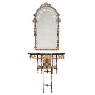 An Iron and Marble Console Table and Mirror, Attributed