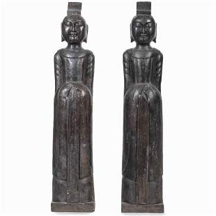 A Pair of Chinese Carved Marble Statues