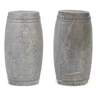 A Pair of Chinese Carved Stone Garden Seats