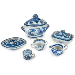 A Group of Chinese Export Blue and White Porcelain