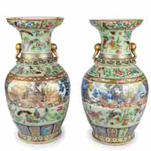 A Pair of Chinese Rose Medallion Vases