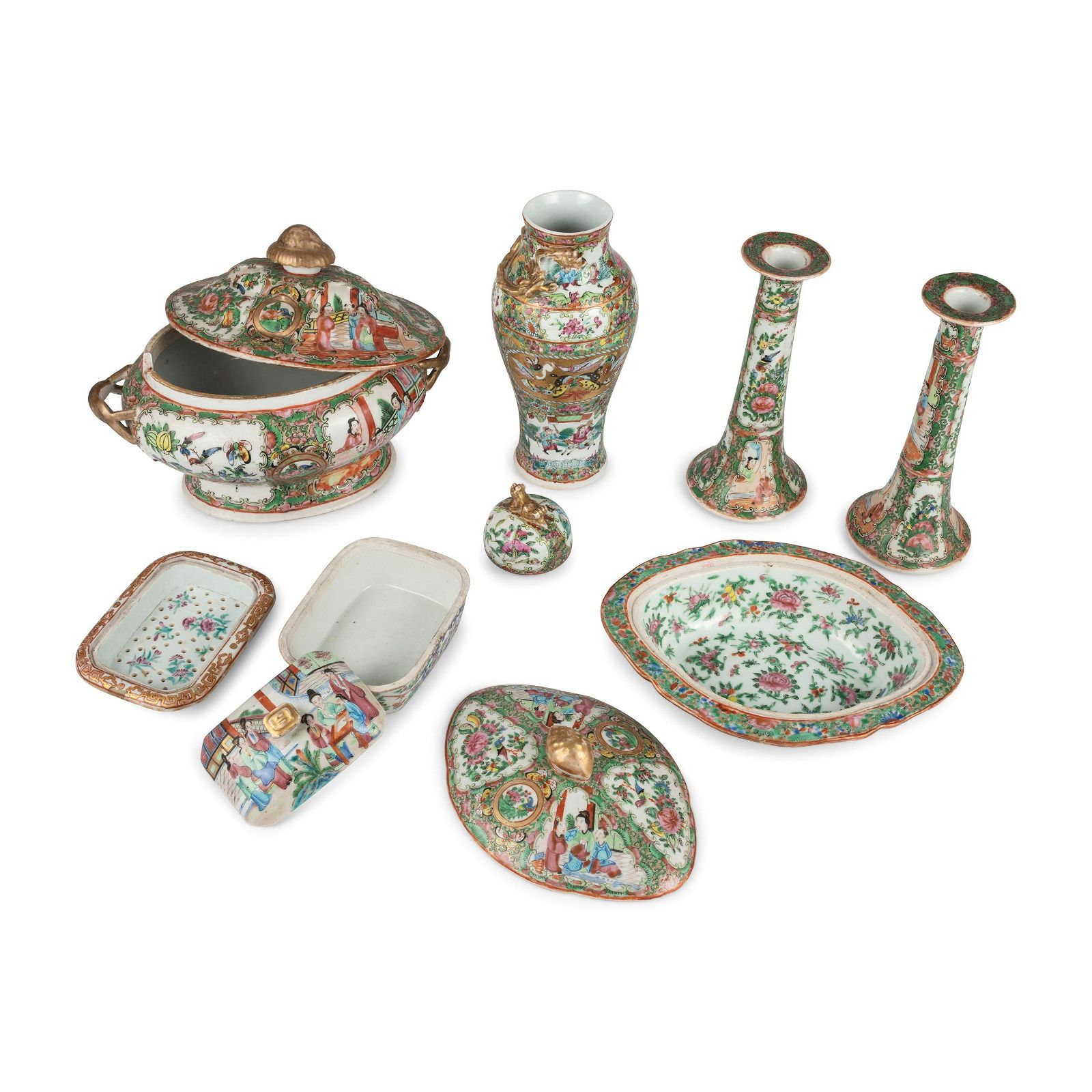 A Collection of Chinese Export Rose Medallion Porcelain