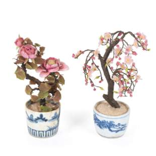 Two Carved Hard Stone Floral Bouquets