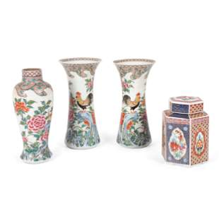 Three Chinese Porcelain Famille Rose Vases and a Tea