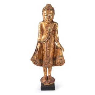 A Chinese Carved Gilt Wood Standing Buddha Figure