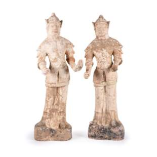 A Pair of Chinese Terra Cotta Warrior Figures