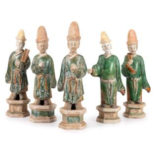 Five Chinese Terracotta Figures of Officials