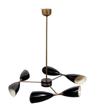 Stilnovo Style Mid 20th Century Six Light Chandelier
