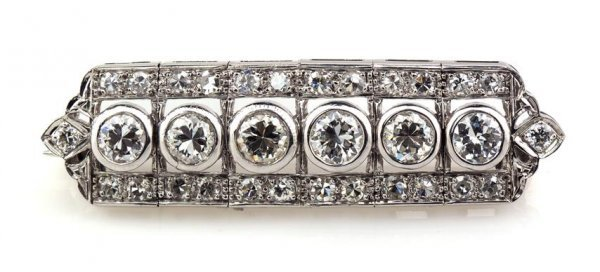 An Art Deco Platinum and Diamond Brooch, 5.50 dwts.