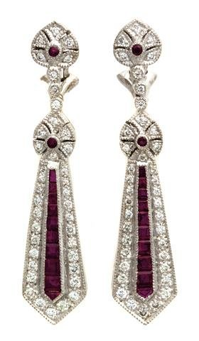 A Pair of 18 Karat White Gold, Ruby and Diamond Earclip