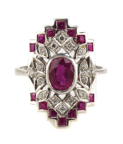 An 18 Karat White Gold, Ruby and Diamond Ring, 4.60 dwt